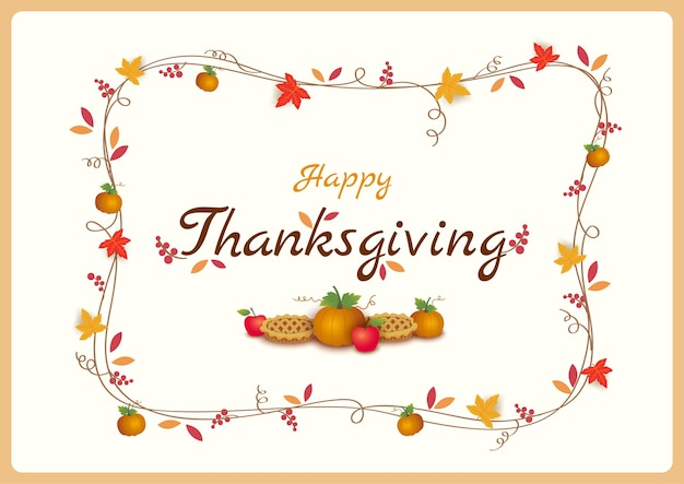 Thanksgiving achtergrond pompoen en taart versierd met krans tak