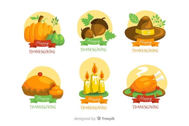 Thanksgiving-badgecollectie in plat ontwerp