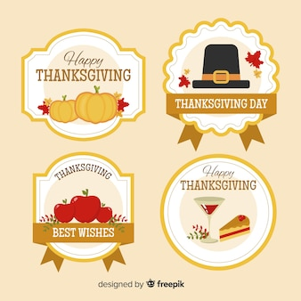 Thanksgiving-badgecollectie in plat ontwerp