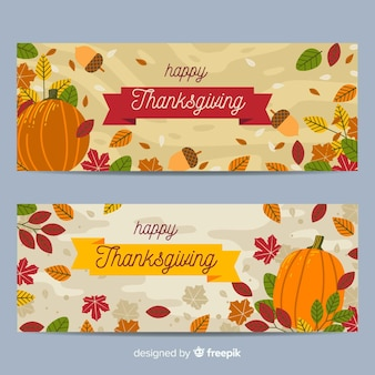 Thanksgiving banner in plat ontwerp
