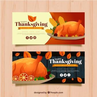 Thanksgiving banners met aquarel kalkoen