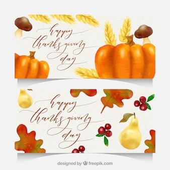 Thanksgiving banners met aquarel stijl