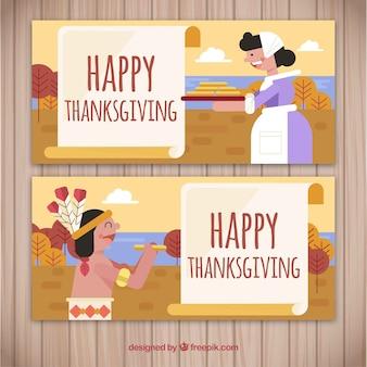 Thanksgiving banners met karakters