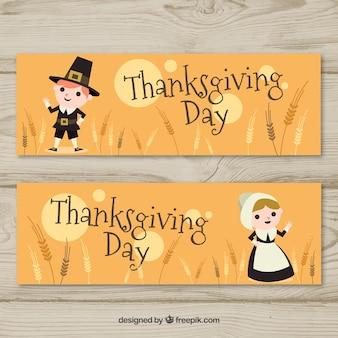 Thanksgiving banners met mooie karakters