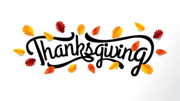 Thanksgiving belettering met herfstbladeren