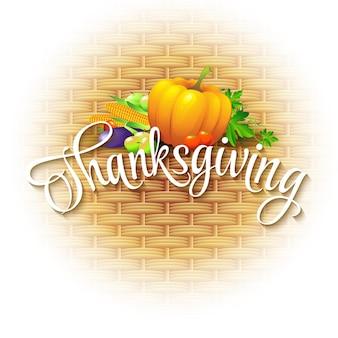 Thanksgiving card rieten mand achtergrond. vectorillustratie eps 10