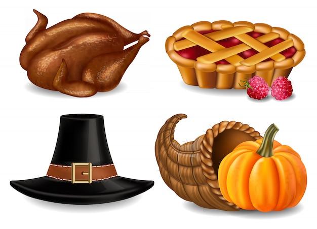 Thanksgiving-collectie met kalkoen en taart
