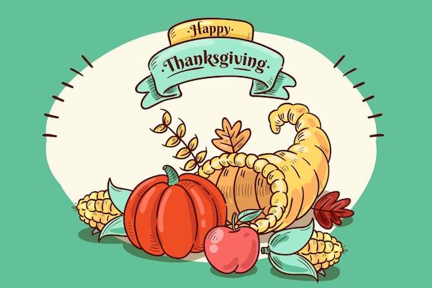 Thanksgiving concept in de hand getekend