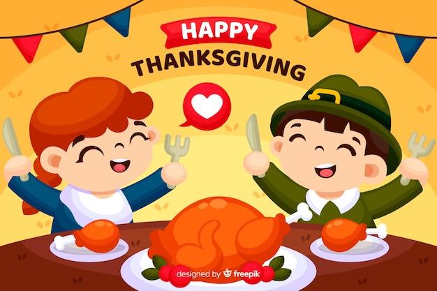 Thanksgiving-concept in plat ontwerp