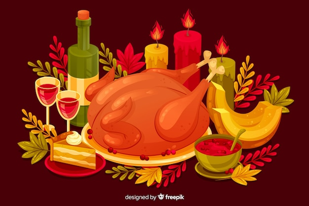 Thanksgiving-concept in plat ontwerp