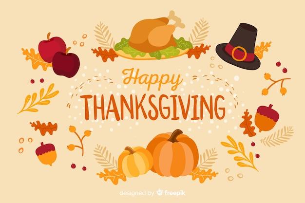 Thanksgiving concept met platte ontwerp achtergrond