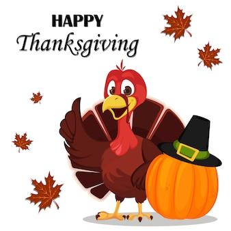 Thanksgiving dag. de vogel die van turkije zich dichtbij pompoen bevindt