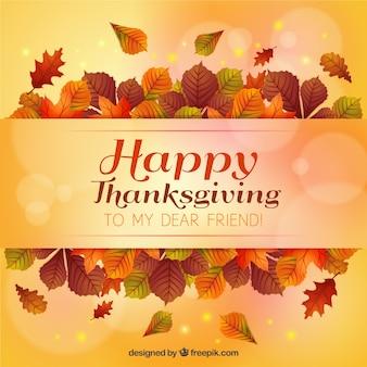 Thanksgiving dagkaart van bladeren en bokeh effect