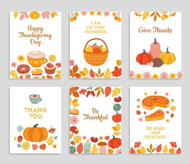 Thanksgiving-dagkaarten. herfst rustieke poster, flyers met bloemen, vallende bladeren van de pompoentaart. gelukkige dankbare groeten vectorillustratie. herfst thanksgiving banner en herfstvakantie