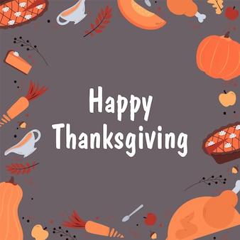 Thanksgiving-daguitnodiging op traditioneel herfstvakantiediner