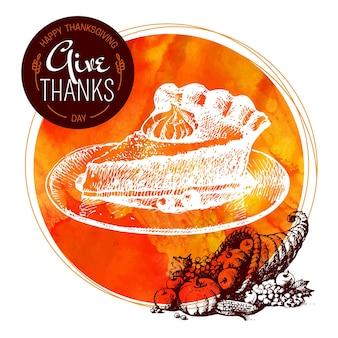 Thanksgiving day achtergrond. typografische affiche. hand getrokken schets en aquarel vectorillustratie