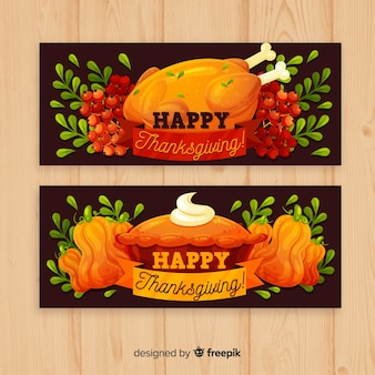 Thanksgiving day banner set