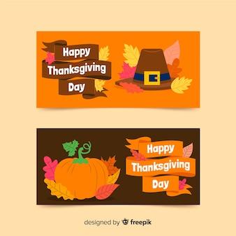 Thanksgiving day banners plat ontwerp voor sjabloon