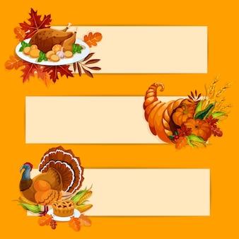 Thanksgiving day-banners. thanksgiving oktoberviering geroosterde kalkoen op plaat, hoorn des overvloeds met groentenoogst, vleespastei. herfst eiken, esdoorn bladeren achtergrond