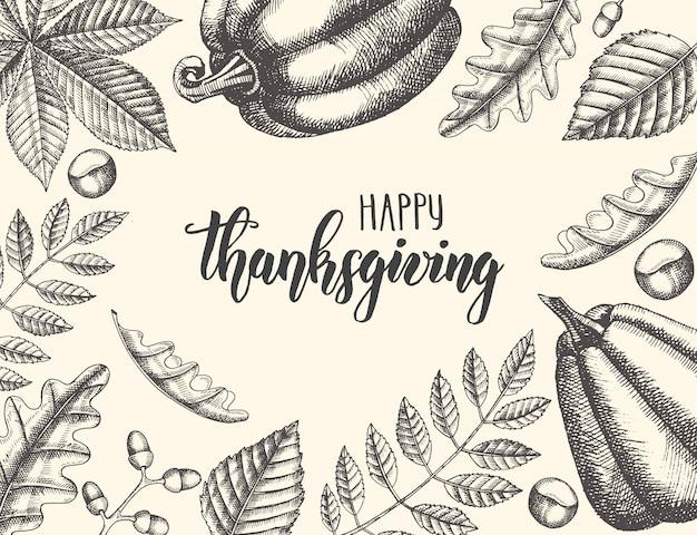 Thanksgiving day belettering kalligrafie zin. herfst achtergrond met bladeren en pompoenen