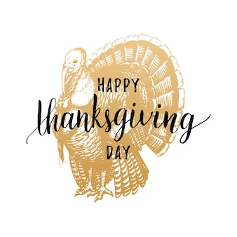 Thanksgiving day belettering met feestelijke turkije illustratie. uitnodiging of vakantie wenskaartsjabloon.