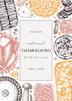 Thanksgiving day dinermenu ontwerp in kleur