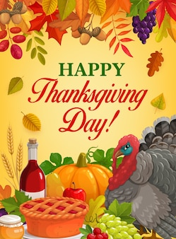 Thanksgiving day-dinerontwerp met kalkoen