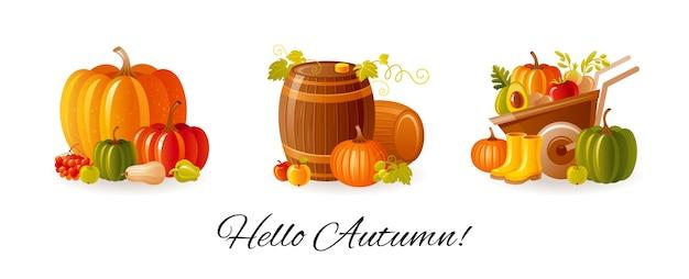 Thanksgiving day en boerderij herfst oogstfeest ingesteld. herfstpompoenen, wijnvat, kruiwagen met fruit en groente.