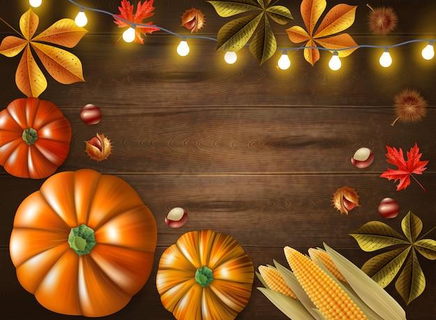 Thanksgiving day gekleurd kader met verschillende groottepompoenen en lichten op houten vectorillustratie als achtergrond