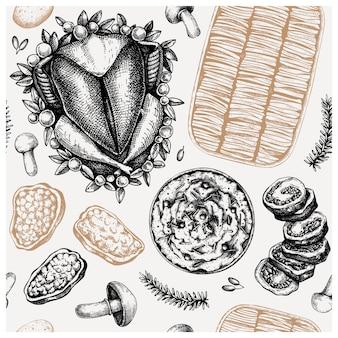 Thanksgiving day gerechten naadloze patroon. geroosterde kalkoen, rollade, gegratineerd, aardappelpuree, paprikaschetsen. traditioneel thanksgiving-dagvoedsel. familie diner achtergrond. vintage achtergrond