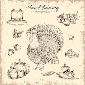 Thanksgiving day hand getrokken illustratie