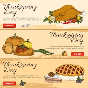 Thanksgiving day horizontale hand getrokken banners