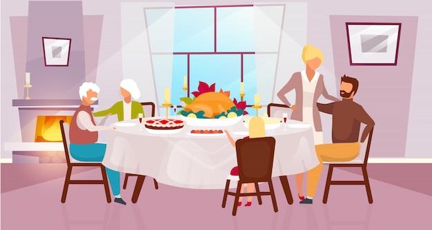 Thanksgiving day illustratie. herfstvakantie jaarlijkse viering. dankbare maaltijd. samen met grootouders de oogst vieren. familiediner met stripfiguren van kalkoen