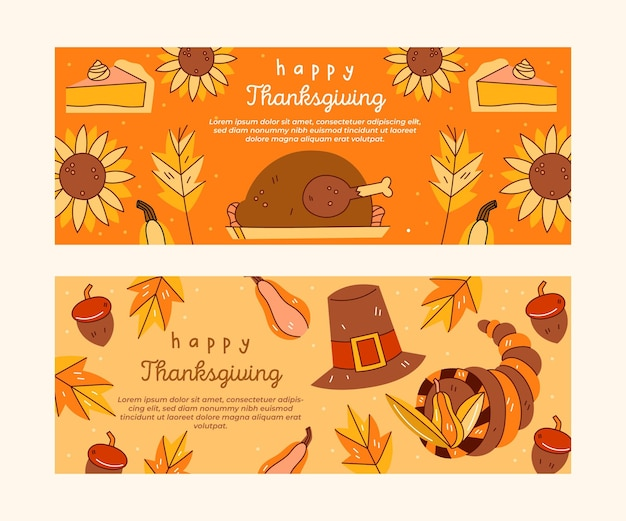 Thanksgiving day instagram banners sjabloon