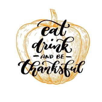 Thanksgiving day-kaart met handgeschreven letters.