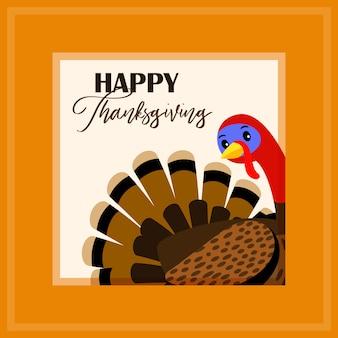 Thanksgiving day kaart met turkije