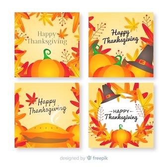 Thanksgiving day-kaartinzameling in vlak ontwerp