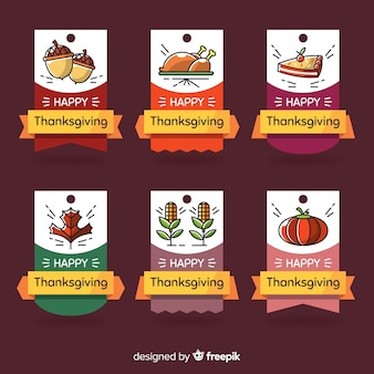 Thanksgiving day label collectie hand getrokken stijl