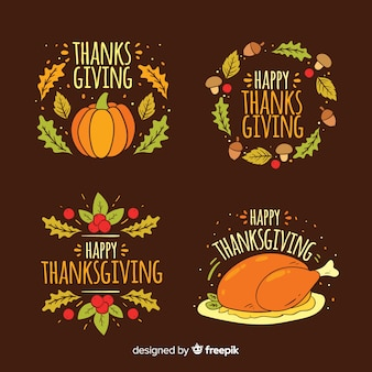 Thanksgiving day label collectie in de hand getrokken stijl