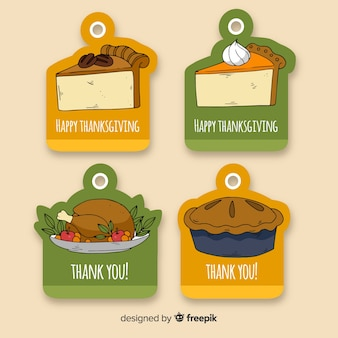 Thanksgiving day label collectie in de hand getrokken stijl