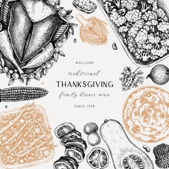 Thanksgiving day menu ontwerp geroosterde kalkoen groenten gerold vlees taarten en taarten bakken