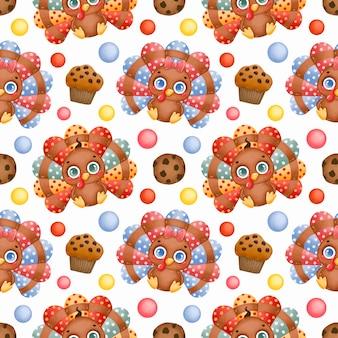 Thanksgiving day naadloze patroon. schattige cartoon baby kalkoenen, amerikaans chocoladeschilferkoekje en cupcake naadloos patroon.