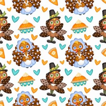 Thanksgiving day naadloze patroon. schattige cartoon pelgrim kalkoen en pompoentaart naadloze patroon.