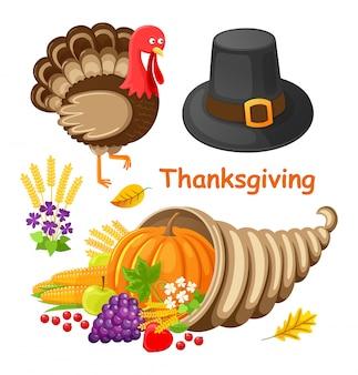 Thanksgiving day poster met items set