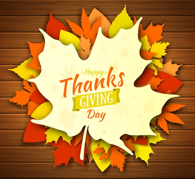 Thanksgiving day posterontwerp. herfst wenskaart. herfst kleurrijke bladeren met belettering happy thanksgiving day. gebladerte van esdoorn, eik, esp van gele, oranje en rode kleur op houten achtergrond