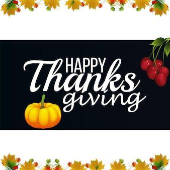 Thanksgiving day realistische vectorillustratie met herfstbladeren en pompoen