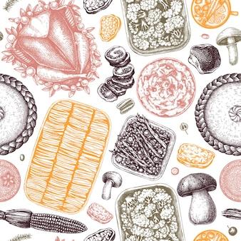 Thanksgiving day tafel naadloze patroon