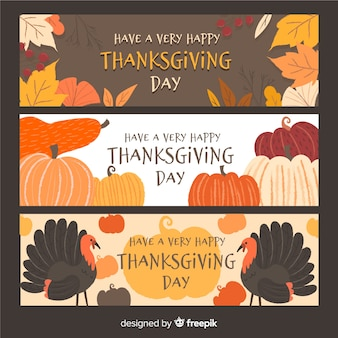 Thanksgiving day turkije banner set