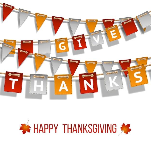 Thanksgiving day, vlaggenslinger op witte achtergrond. slingers van rood wit gele vlaggen en twee esdoorn herfstbladeren. illustratie.
