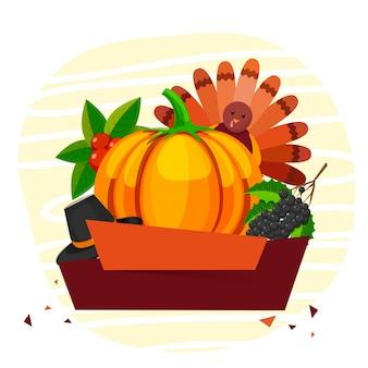 Thanksgiving day voorwerpen met lege banners.